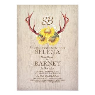 Rotwild-Geweihe und Sonnenblume-rustikales 12,7 X 17,8 Cm Einladungskarte