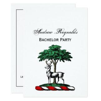 Rotwild-Hirsch durch Baum-heraldisches Karte
