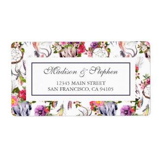 Rotwild-Schädel, Blumen u. Traumfänger - Hochzeit Großer Adressaufkleber