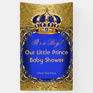 Royal Blue Damask Gold Crown Baby Shower Boy Banner