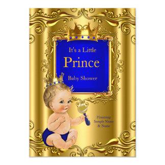 Royal Blue Prince Baby Shower Gold Crown Blonde 12,7 X 17,8 Cm Einladungskarte