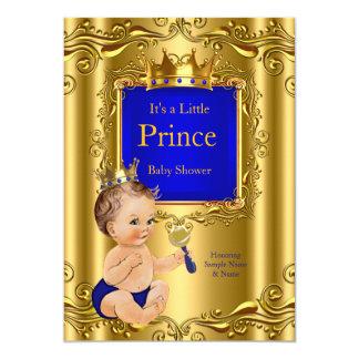 Royal Blue Prince Baby Shower Gold Crown Brunette 12,7 X 17,8 Cm Einladungskarte