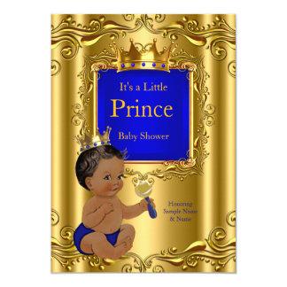 Royal Blue Prince Baby Shower Gold Crown Ethnic 12,7 X 17,8 Cm Einladungskarte