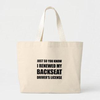 Rücksitzfahrer-Lizenz Jumbo Stoffbeutel