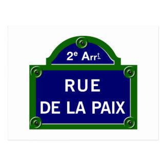 Rue de la Paix, Paris-Straßenschild Postkarte