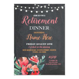 Ruhestands-Abendessen laden der Blumen Karte