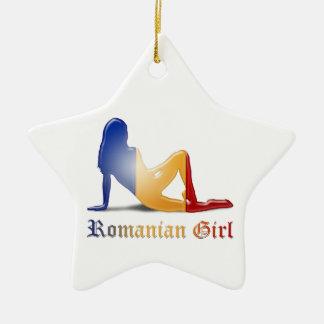 Rumänische Mädchen-Silhouette-Flagge Keramik Stern-Ornament