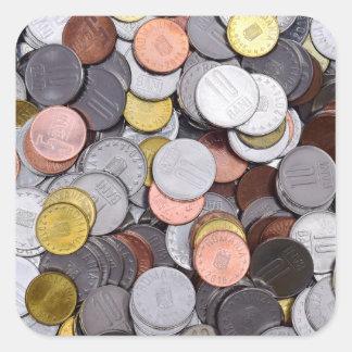 rumänische Münzen Quadratischer Aufkleber