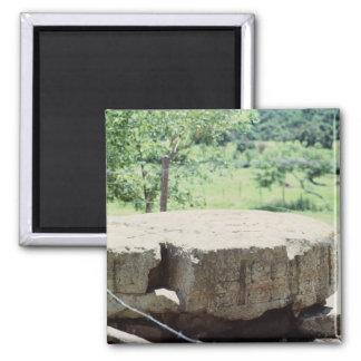 Runder Stein geschnitztes Block-Mayaruinen Copan Quadratischer Magnet