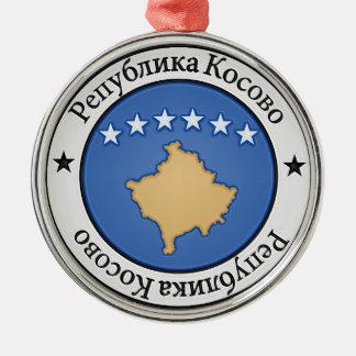 Rundes Emblem Kosovos Silbernes Ornament