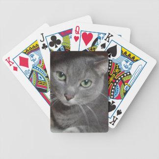 Russische blaues Grau-Katze Pokerkarten
