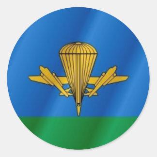 Russische im Flugzeug Flagge Runder Aufkleber