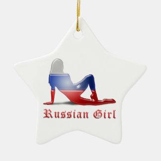 Russische Mädchen-Silhouette-Flagge Keramik Stern-Ornament