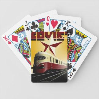 Russisches Vintages kommunistisches Bahnplakat Spielkarten