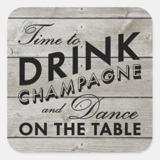 Rustikale Aufkleber-Zeit, Champagne zu trinken