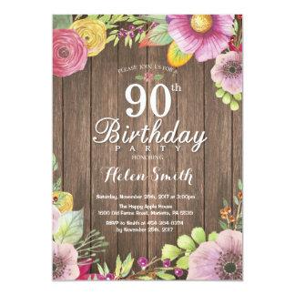 Rustikale Blumen90. Geburtstags-Einladung für Karte
