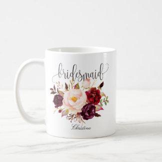 Rustikale Blumenbrautjungfern-Hochzeit Tasse
