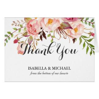 Rustikale Blumenhochzeit danken Ihnen Karte