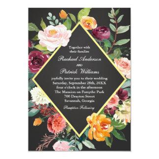 Rustikale Blumentafel-Hochzeit 12,7 X 17,8 Cm Einladungskarte