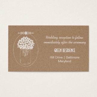 Rustikale Braunes Packpapier MasonJar Blumen, die Visitenkarten