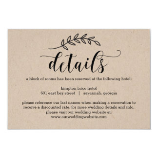 Rustikale Eleganz-Hochzeits-Einzelkarte Karte
