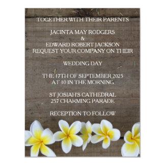 Rustikale Frangipani-/Plumeria-Strand-Hochzeit 10,8 X 14 Cm Einladungskarte
