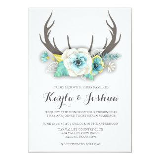 Rustikale Geweih-Hochzeits-Einladung Karte