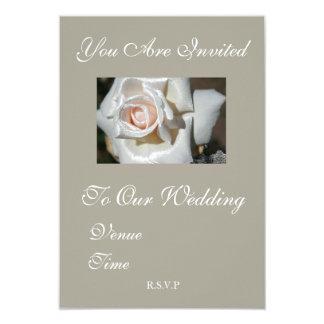 Rustikale graues Weiß-Rosen-Hochzeits-Einladung 8,9 X 12,7 Cm Einladungskarte