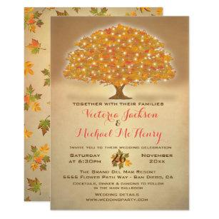 Rustikale Herbst Hochzeit Mit Funkelnlichtern Einladung