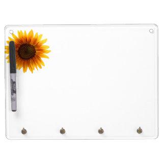 Rustikale Herbst-Sonnenblume Trockenlöschtafel Mit Schlüsselanhängern