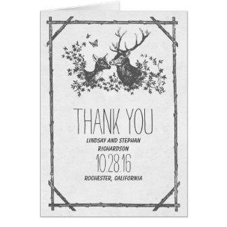 Rustikale Hochzeit des Rotwildlandes danken Ihnen Karte