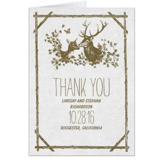 Rustikale Hochzeit des Rotwildlandes danken Ihnen Mitteilungskarte