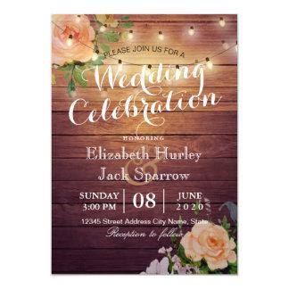 Rustikale Hochzeits-Einladungs-hölzernes Karte