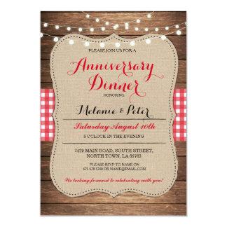 Rustikale Hochzeits-Jahrestags-Rot-Party Einladung