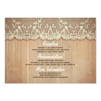 Rustikale Holz-und Spitze-Hochzeits-Informationen 11,4 X 15,9 Cm Einladungskarte