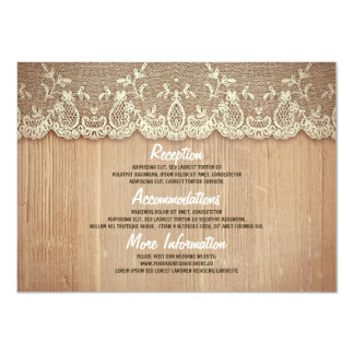 Rustikale Holz-und Spitze-Hochzeits-Informationen Karte