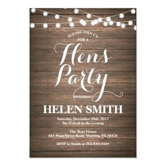 Rustikale hölzerne Henne-Party Einladungs-Karte 12,7 X 17,8 Cm Einladungskarte