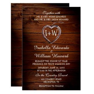 Rustikale hölzerne Herz-Hochzeits-Einladung 8,9 X 12,7 Cm Einladungskarte