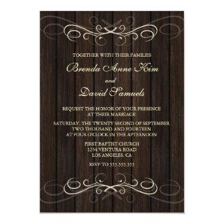 Rustikale hölzerne Hochzeits-Einladung 12,7 X 17,8 Cm Einladungskarte