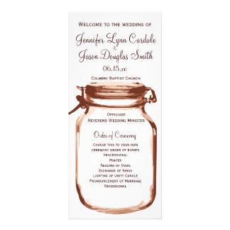 Rustikale Land-Weckglas-Hochzeits-Programme Werbekarte