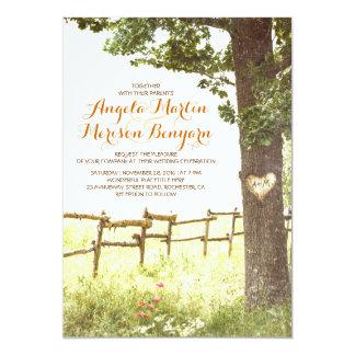 rustikale Landherzbaum-Hochzeitseinladung 12,7 X 17,8 Cm Einladungskarte