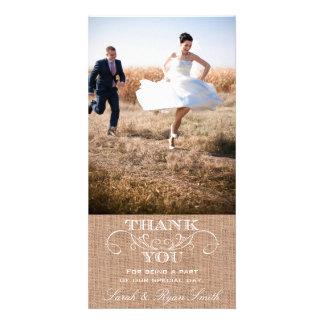 Rustikale Leinwand-Druck-Hochzeit danken Ihnen Bilder Karten