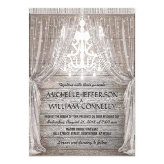 Rustikale Leuchter-Scheunen-Drapierungs-Hochzeit 12,7 X 17,8 Cm Einladungskarte