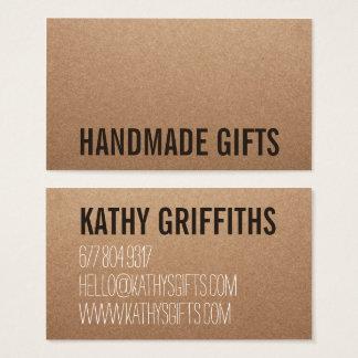 Rustikale moderne braune handgemachte Pappe Visitenkarte