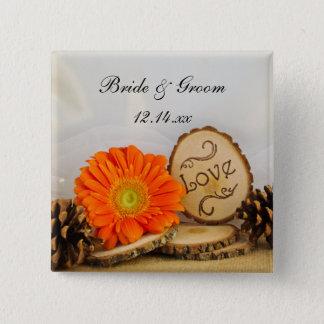 Rustikale orange Gänseblümchen-Waldhochzeit Quadratischer Button 5,1 Cm