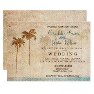 Rustikale Palme-Strand-Hochzeits-Einladungen 12,7 X 17,8 Cm Einladungskarte