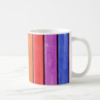 Rustikale Regenbogen-Holz-Streifen Tasse