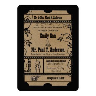 Rustikale romantische Karten-Hochzeit 12,7 X 17,8 Cm Einladungskarte