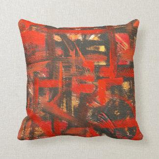 Rustikale Rot-Hand gemalte abstrakte Brushstrokes Kissen