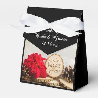 Rustikale rote Poinsettia-Winter-Hochzeit Geschenkschachtel